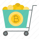 bitcoin, blockchain, cart, cryptocurrency, digital currency icon
