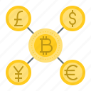 bitcoin, blockchain, coin, cryptocurrency, currency exchange, digital currency icon