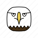 american bald eagle, animals, bird, characters, color, cute, pets icon