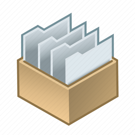 box, folders, office, orderliness, system, systematized, with icon