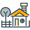 chimney, culture, farm, home, house, stay, tree icon