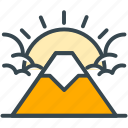 cloud, culture, fuji, holiday, mountain, sun icon