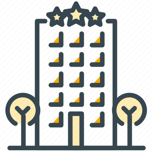 building, culture, holiday, hotel, stars, tree icon