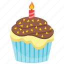 birthday cupcake, birthday muffin, chocolate cupcake, cupcake, sweet cake icon