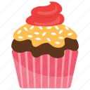 cream cupcake, muffin, raspberry cupcake, small cake, sweet cake icon