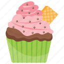 biscuit cupcake, biscuit muffin, cupcake, small cake, sweet cake icon