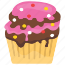 confetti cupcake, cupcake, muffin, small cake, sweet cake icon