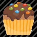 chocolate cupcake, chocolate muffin, confetti cupcake, small cake, sweet cake