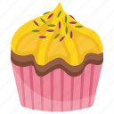 cinnamon cupcake, cinnamon muffin, cupcake, sweet cake, yellow cupcake icon