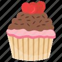 anniversary cupcake, anniversary muffin, chocolate cupcake, small cake, valentine cake icon
