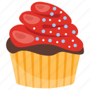 amaretto cupcake, raspberry muffin, small cake, sweet cake, wedding cupcake icon