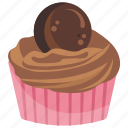 chocolate, cookie cupcake, cookie muffin, cupcake, small cake, sweet cake icon