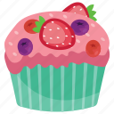 cake, fruit cupcake, fruit muffin, sweet cake icon