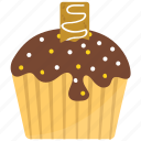caramel cupcake, chocolate cake, chocolate cupcake, chocolate muffin, small cake icon