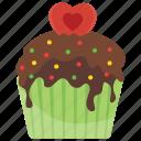 anniversary cake, romantic cupcake, small cake, valentine cupcake, valentine muffin icon