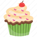 cherry cupcake, cherry muffin, cupcake, small cake, sweet cake icon