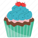 blueberry cupcake, blueberry muffin, cupcake, dessert, sweet cake icon