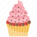 cupcake, small cake, strawberry cupcake, strawberry muffin, sweet cake icon