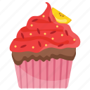 frosting cupcake, frosting muffin, red cupcake, small cake, sweet cake icon