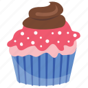 cupcake, small cake, strawberry cupcake, strawberry dip, strawberry muffin icon