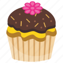 chocolate cupcake, chocolate muffin, cupcake, small cake, sweet cake icon