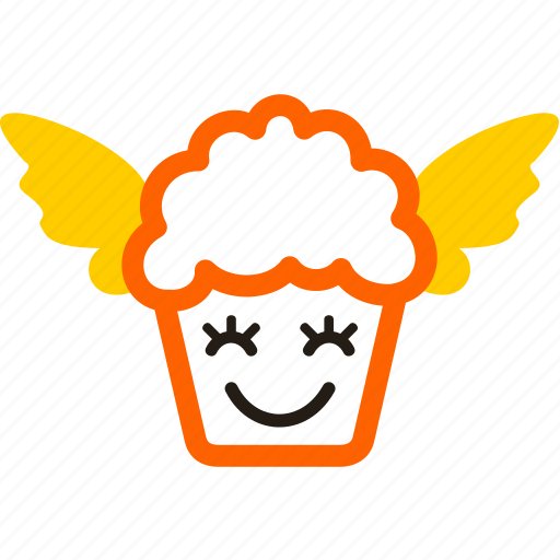cartoon, cupcake, dessert, food, meal, wing icon