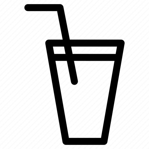 beverage, cocktail, cup, juice, straw, water cup straw icon