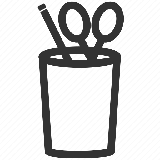 cup, eraser, office, pen, pencil, scissors icon