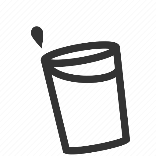 cup, drop, spill, water icon