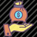 money, bag, hand, 1