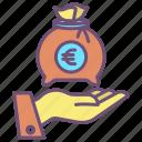 money, bag, hand