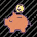 piggy, bank, euro