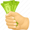 bills, buying, cash, hand, money, paying icon