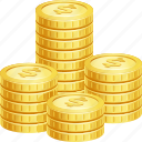 cash, coin stack, coins, money, stack icon