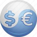 conversion, currency, dollar, euro, exchange rate, yang, yin icon