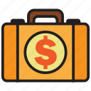briefcase, dollar, business, cash, currency, finance, money