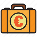 bag, briefcase, business, currency, euro, money icon