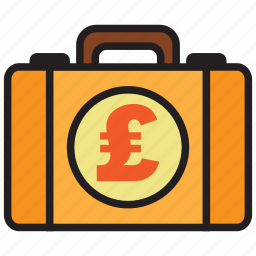 bag, briefcase, business, money, pound, suitcase icon