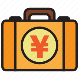 bag, briefcase, business, cash, money, suitcase, yen icon