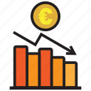 analytics, business, chart, debt, euro, graph, report icon