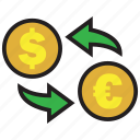 cash, coin, conversion, dollar, euro, exchange, rate icon