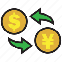 conversion, dollar, exchange, finance, money, payment, yen icon
