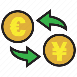 conversion, currency, euro, exchange, finance, rate, yen icon