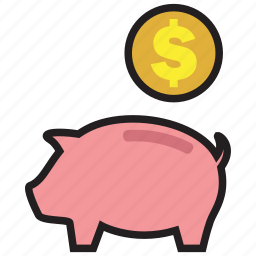 cash, coin, currency, dollar, guardar, pig, save, saving icon