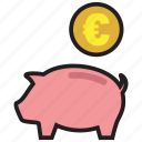coin, currency, euro, guardar, pig, save, saving, savings icon