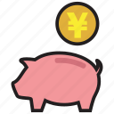 bank, finance, guardar, money, pig, save, saving, yen icon