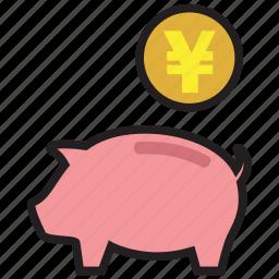 bank, finance, guardar, money, pig, save, saving, yen icon