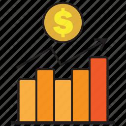 business, chart, dollar, finance, graph, money icon