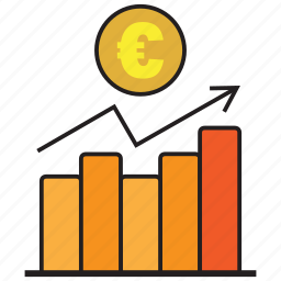 analytics, business, chart, euro, graph, report, statistics icon