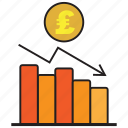 analytics, chart, debt, pound, report, statistics icon